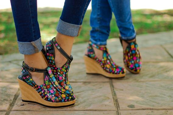 Zapatos Artesanales De Plataforma Piel Y Pintados A Mano