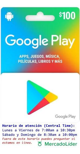 Imagen 1 de 2 de Tarjeta Google Play De 100 Pesos
