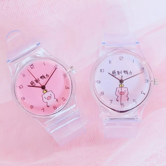 Reloj Cerdito Transparente