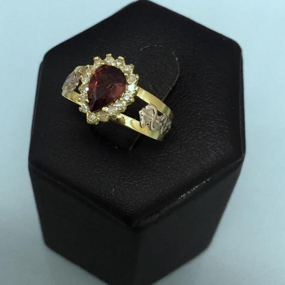 Anel Em Ouro 18k, Com Pedra Natural E Diamantes.