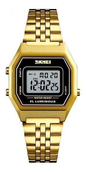 Relógio Feminino Skmei Digital 1345 - Preto E Dourado