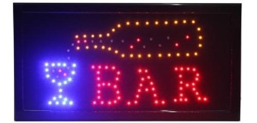Imagen 1 de 2 de Cartel Led Bar Luminoso 220 Volts Con Botella Y Copa