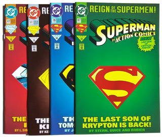 Reign Of The Supermen Set De 4 Comics Portadas Die-cut.