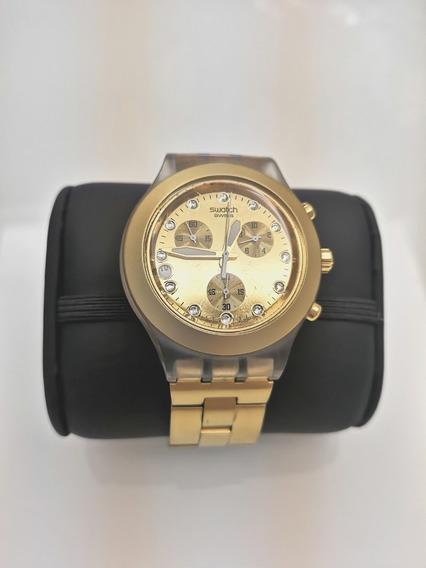 Lindo Relógio Dourado Swatch Full Blooded Suíço Original