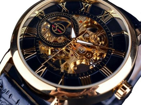 Relógio Masculino Automático Social Pulseira Couro Original