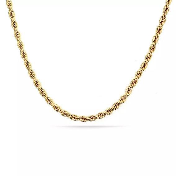 Corrente Corda 60cm Banhada A Ouro