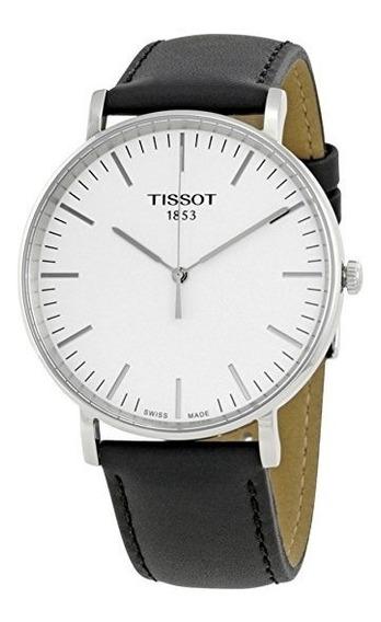 Reloj Tissot Everytime Suizo Cuarzo Piel Acero Plateado