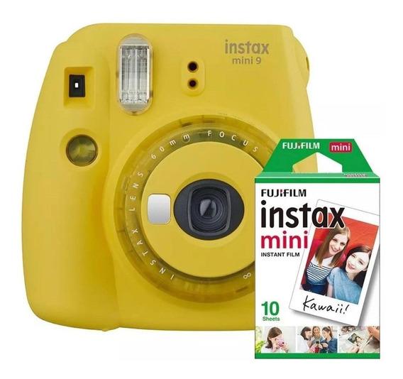 Câmera Fujifilm Instax Mini 9 Amarela + Filme 10 Poses