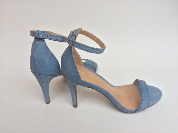 Sandalia Tira Unica Salto Alto Fino Azul Preta Incolor 3td1