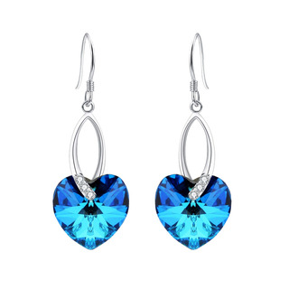 Elequeen 925 Cz Love Heart French Hook Dangle Pendientes.