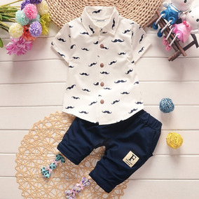 Conjunto Menino Infantil Bebê Camisa Bigode Promoção Bermuda