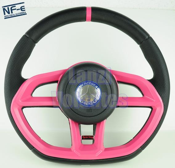 Volante Esportivo Golf Gti Caminhão Mercedes Rosa + Cubo