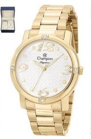 Relógio Champion Feminino Cn27634w + Colar E Brincos B. Ouro