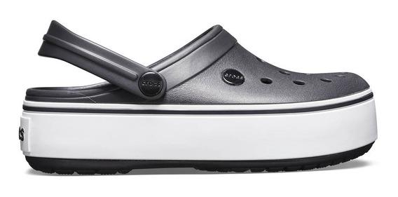Crocs Crocband Plataforma Black White Negro Dama Originales