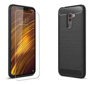Capa Capinha Fibra Xiaomi Pocophone F1 Anti Impacto + Vidro