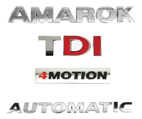 Imagem 1 de 6 de Kit Emblema Tampa Traseira Amarok + Tdi + 4motion Automatic