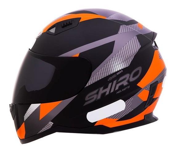 Capacete Motociclista Shiro Sh881 - Brno - Preto Fosco / Laranja Fluor