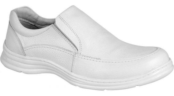 Sapato Branco Masculino Confort Plus Em Couro Bmbrasil 2711