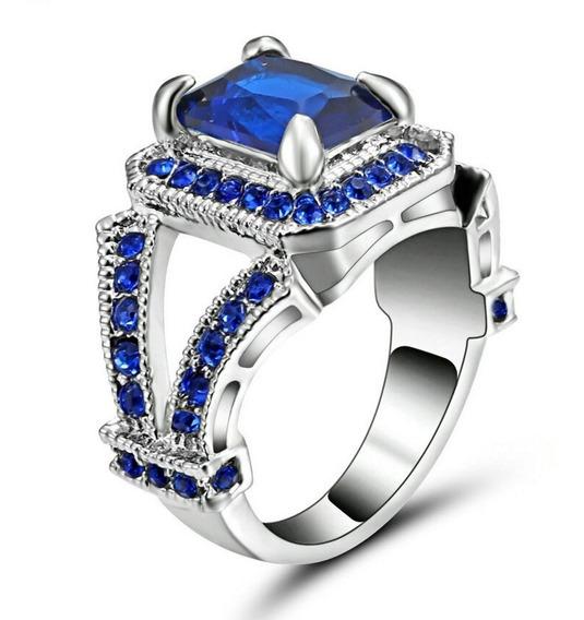 Anel Feminino Formatura Curso Pedra Safira Azul 434