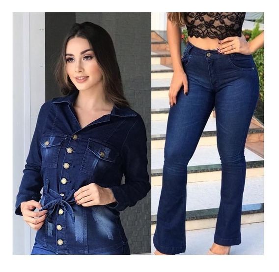 Conjunto Jaqueta Jeans Feminina +calça Jeans Flare