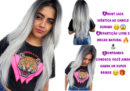 Peruca Front Lace Lisa Ombre Cinza Repartição Livre 70cm+wig