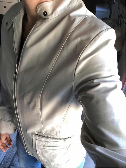 Saco Campera De Cuero Mujer Color Hueso, Blanca, Como Nueva