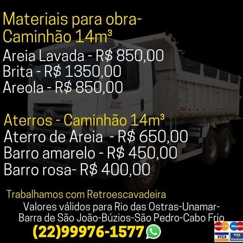Vendo Areia Lavada, Brita, Areola, Aluguel De Retro