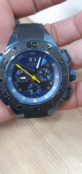 Reloj Tous Xtous Azul Negro Con Correa Silicona Negra