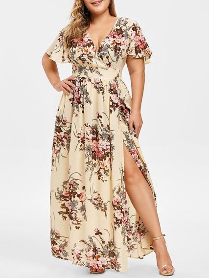 Vestido Maxi Plus Talla V Cuello Estampado Floral