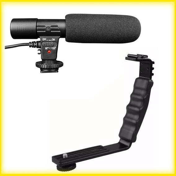 Microfone Estéreo + Suporte L ( Câmera Dslr Nikon Canon )