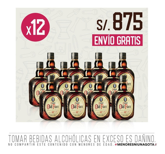 Pack Whisky Grand Old Parr 12 Años X 12 - 750 Ml C/u