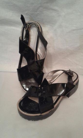 Zapato Verano Dama Simil Charol Negro/con Taco/plataforma