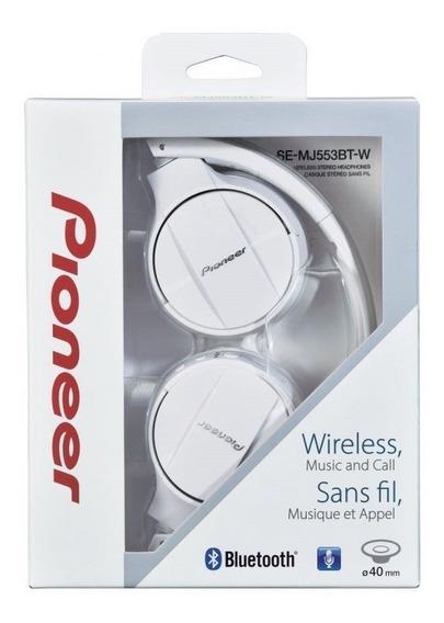Fone De Ouvido C/ Microfone Pioneer Bluetooth Sem Fio Branco