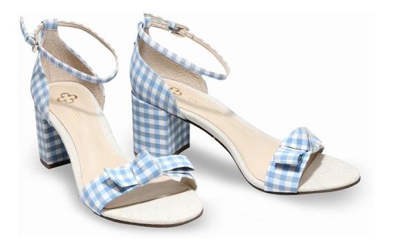 Sapato Sandalia Feminina Salto Baixo Grosso Azul Capodarte
