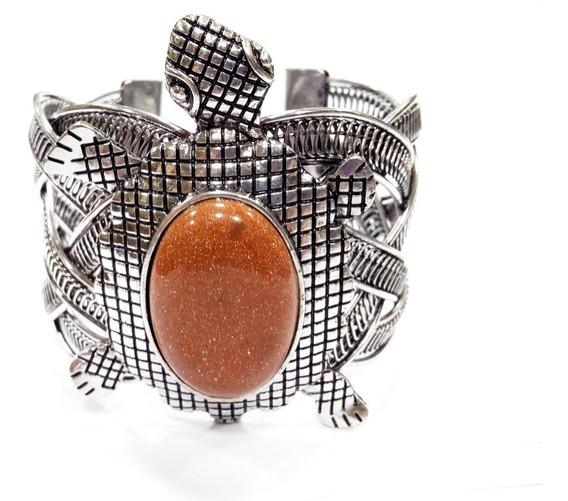 Bracelete Pulseira Tartaruga C/ Pedra Do Sol Natural Linda!