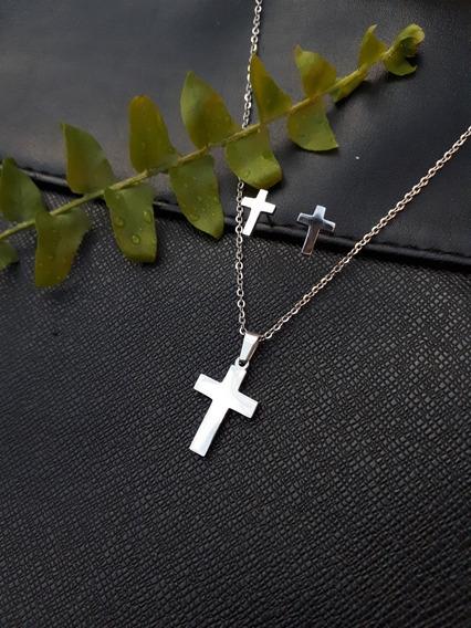 Colar E Brincos De Aço, Crucifixo, Religião, Cruz