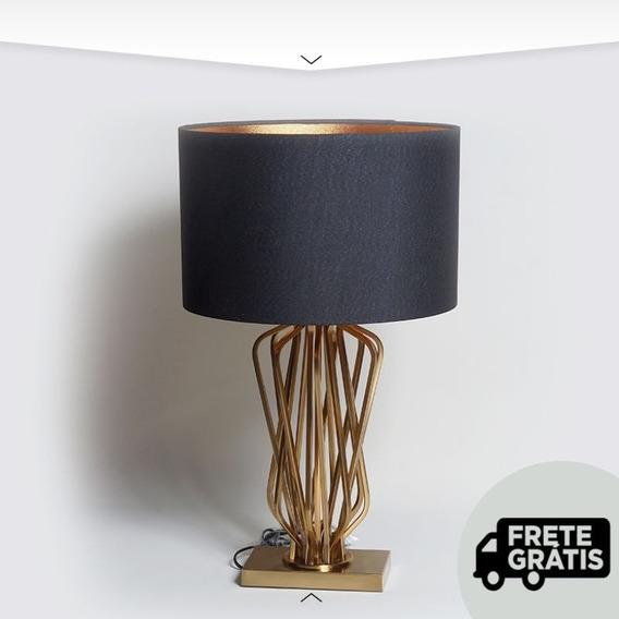 Abajur Adorno Design Em Metal Dubai Gold Premium Nordeste