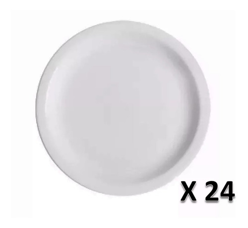 Imagen 1 de 1 de Plato Playo Melamina Blanco 25 Cm Ala Angosta X 24 Unidades