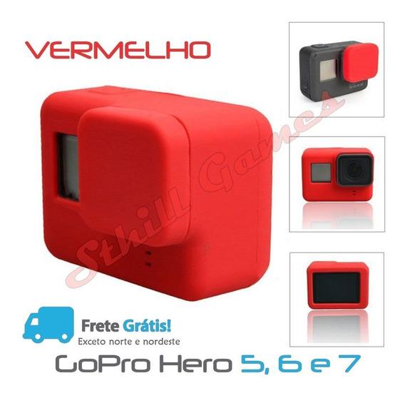 Capa Protetora + Tampa Em Silicone Gopro Hero 5,6 E 7 Vermel