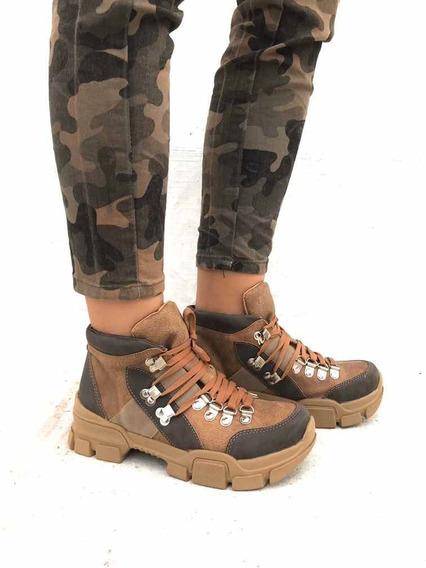 Borcegos Sneakers Zapatillas Tipo Trekking Treacking Marrón