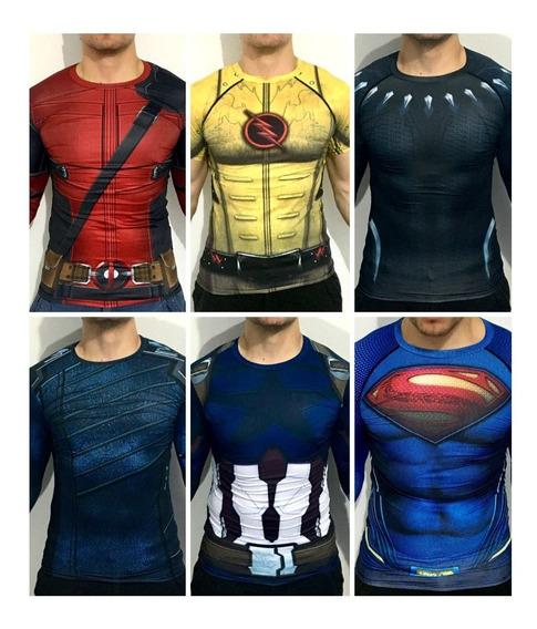 Super Heroe Lote 5 Playeras Ml Y 1 Mc Gym Cross Running