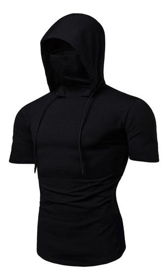 Camiseta Masculina Ninja Com Mascara Embutida E Capuz Slim