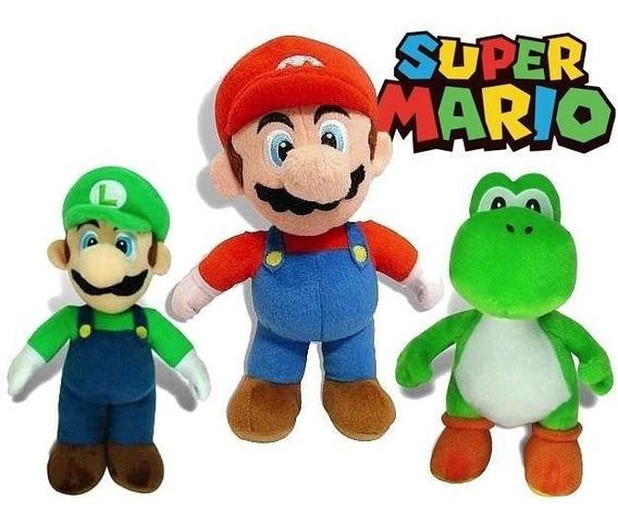 3 Bonecos Pelúcia Super Mario Nintendo Luigi,mario,yoshi