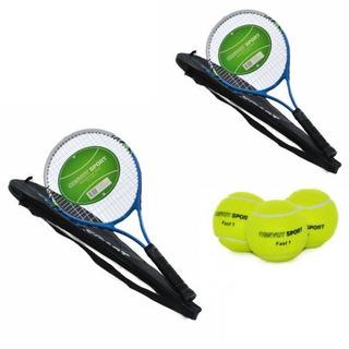 Kit 2 Raquetes Aluminio Com 12 Bolas De Tênis Convoy Sport