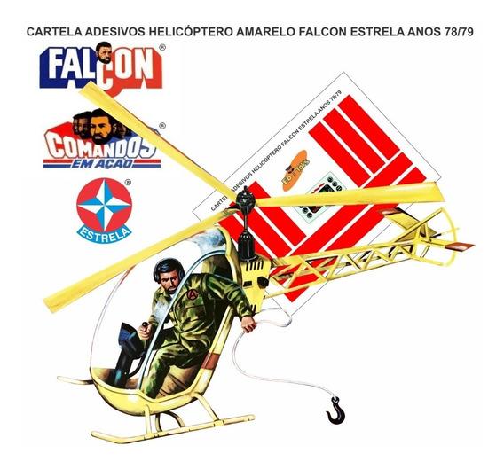 Adesivo Completo Cortado Helicóptero Amarelo Falcon Estrela