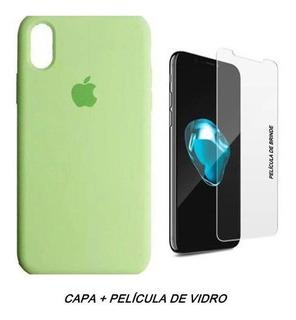 Kit Capinha Capa Case iPhone Xr Apple Silicone + Película 3d