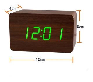 Reloj Led Digital Madera Usb Pilas Alarma Fecha Temperatura