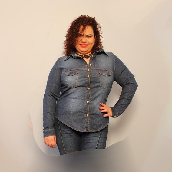 Camisa Jeans Fem Com Strech (elastano) Plus Size 46 Ao 60
