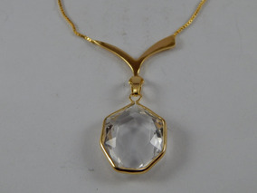 Colar Corrente De Ouro Com Pingente Cristal C003
