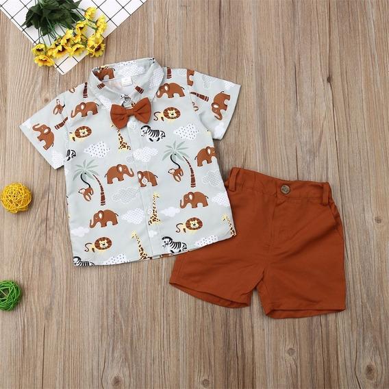 Conjunto Roupa De Menino Bebe Short E Camisa Social Safari
